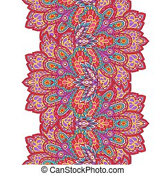 Indian ethnic seamless border with hand drawn ornament
