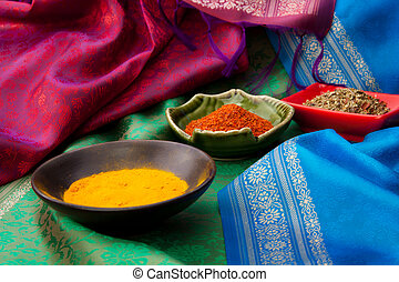 Indian fabric and spices