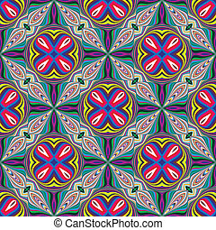 Trendy textile pattern from South Asia, seamless in vivid and bright colors