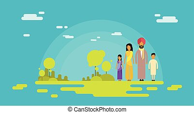 Indian Family Four People Parents Two Children Nature
