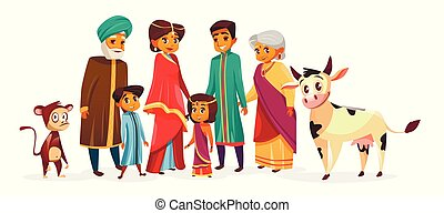 Indian family vector cartoon illustration characters
