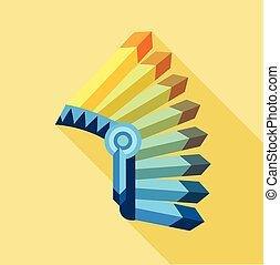 Indian feather headdress icon, flat style