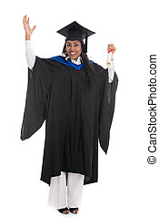indian female graduate with white background