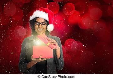 indian female with christmas present