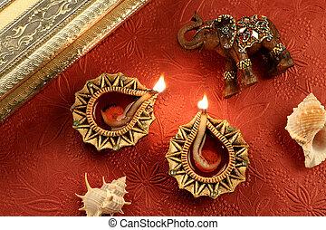 Indian Festival Diwali Diya Lamp with Decorations