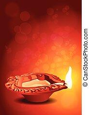 Indian Festival Diwali Diya Vector
