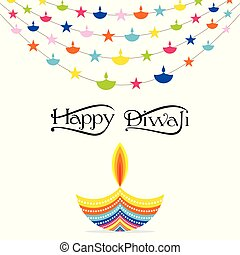 indian festival diwali greeting design - colorful decorated...