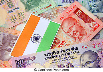 Indian currency - Indian flag and Indian currency concept of...