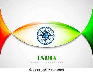 Indian flag background with creative wave vector illustration