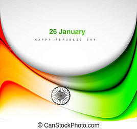 Indian flag background with wave fantastic design vector