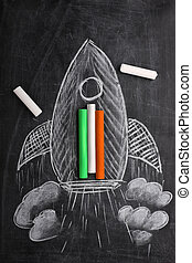 Indian Flag Colors and Rocket on a Black Board with Chalks