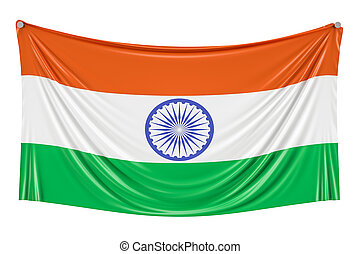 Indian flag hanging on the wall, 3D rendering