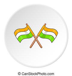 Indian flag icon, cartoon style