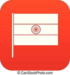 Indian flag icon digital red