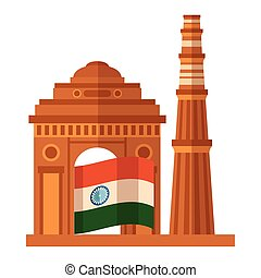 indian flag independence day with gateway mosque