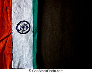 Indian Flag isolated on black background. Happy independence day India. Copy space.