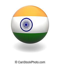 Indian flag - National flag of India on sphere isolated on...