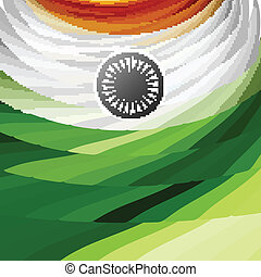 Indian flag texture wave stylish colorful tricolor vector