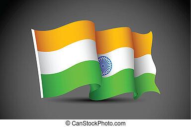 Indian Flag - illustration of Indian tricolor flag on...