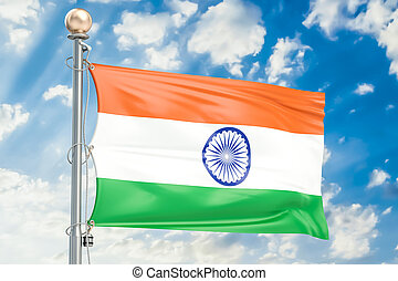 Indian flag waving in blue cloudy sky, 3D rendering