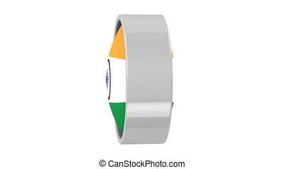 Indian flag with circular frame