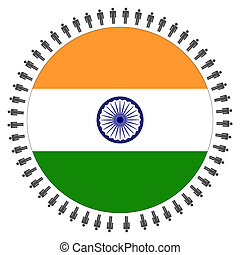 Indian flag with people