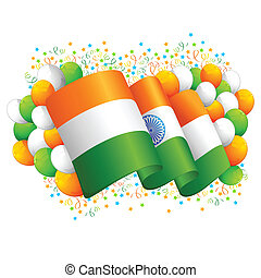 Indian Flag with Tricolor Balloon - illustration of tricolor...