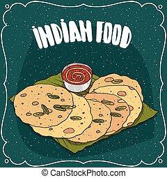 Indian flatbread with sauce like chutney