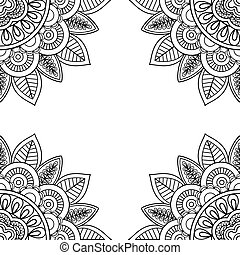 Indian floral frame for coloring pages book. Vector...