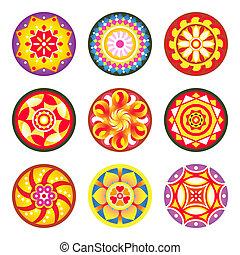 Indian flower carpet patterns (pookalams) for Onam festival