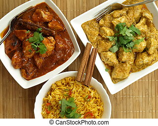 Bird eye view of indian food, curry chicken, rice