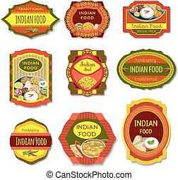 Indian Food Colorful Emblems