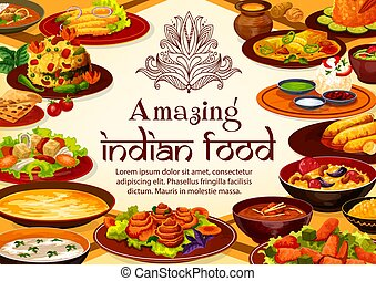 Indian food cuisine dishes, restaurant menu cover