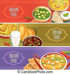 Indian Food Horizontal Banners Set