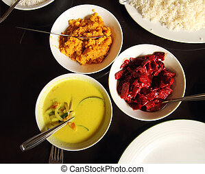 indian food in bowls on table