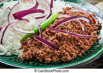 minced lamb meat tandori style with basmati rice