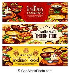 Indian food menu, authentic India restaurant dish