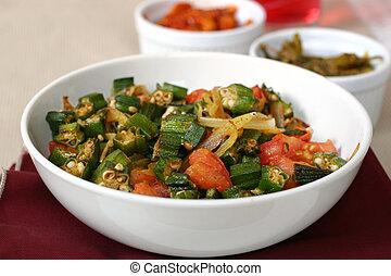 Indian Food - Okra - Traditional Indian dish of Okra shallow...