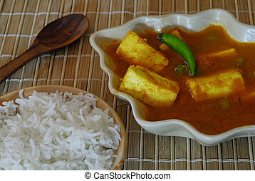 Indian Food Paneer - An Indian vegetarian meal with rice and...