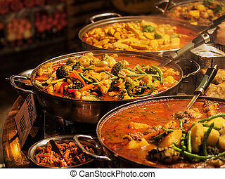 Vegetable curry - Indian takeaway at a London's market