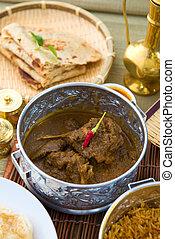 indian foods of chapatti, korma and biryani nice