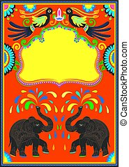 indian frame with birds, elephant and flowers
