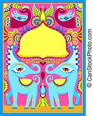 indian frame with birds, elephants and flowers in truck art kits