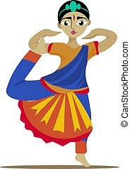 Indian girl dancing, illustration, vector on white background.