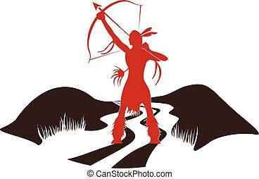 Indian Girl Hunter Logo. Vector graphic design