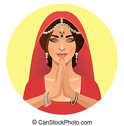 Indian girl in round frame. vector drawing