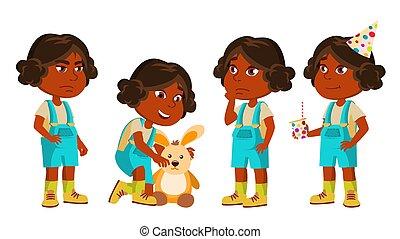 Indian Girl Kindergarten Kid Poses Set Vector. Hindu. Playing With Hare Toy. Active, Joy Preschooler. For Presentation, Print, Invitation Design. Isolated Cartoon Illustration