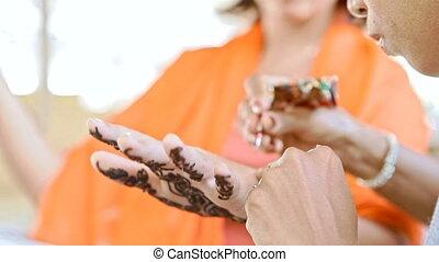 Indian Girl Master Applies Henna Tattoo on Palm - VARKALA,...