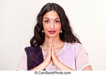 Indian girl namaste greeting - Beautiful indian girl doing...