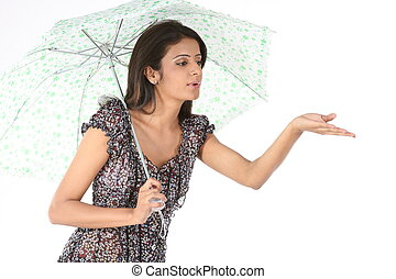 girl playing with the umbrella